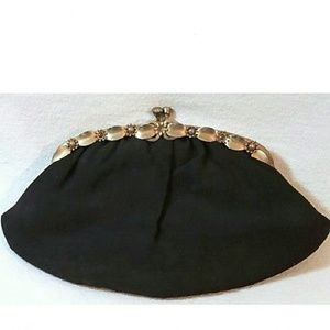 Vintage Black Kiss Lock Clasp Clutch Purse Bag